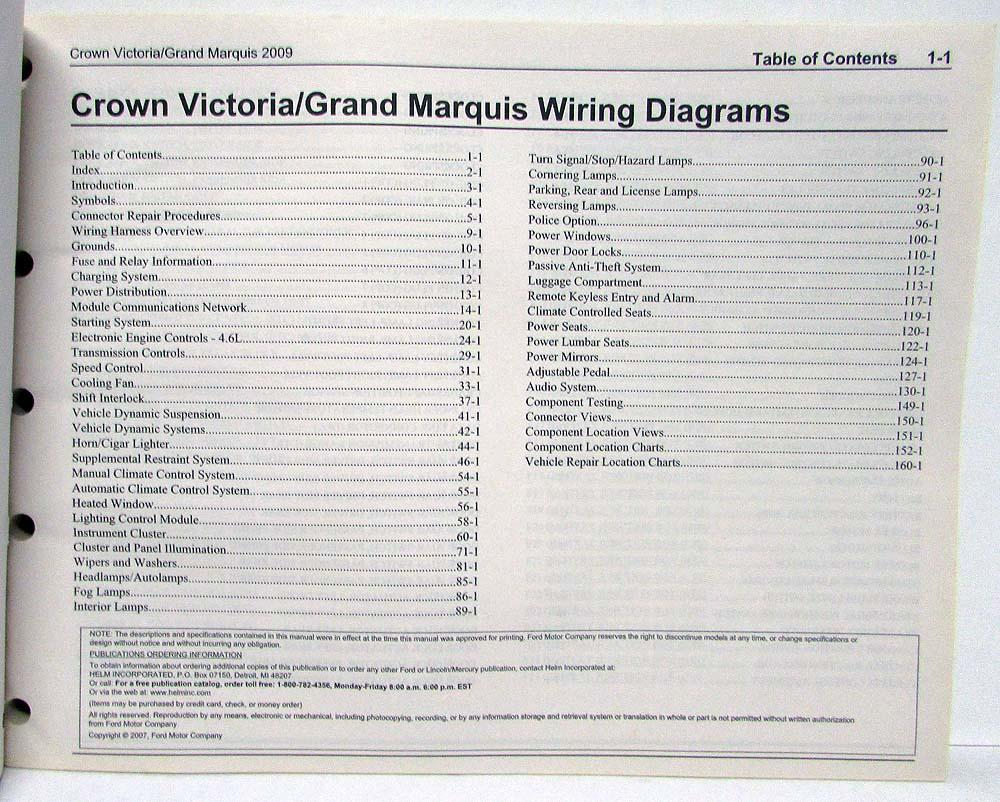 medium resolution of 2009 ford crown victoria mercury grand marquis electrical wiring diagrams