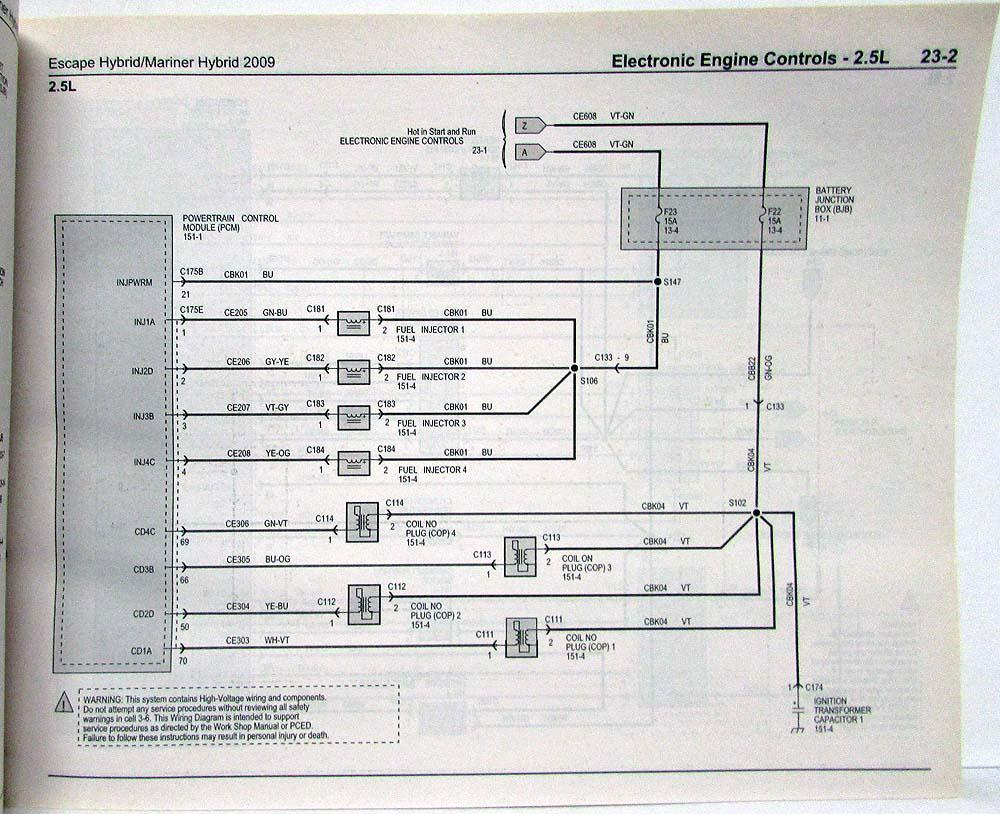 hight resolution of 2009 ford escape mercury mariner hybrid electrical wiring diagrams manual