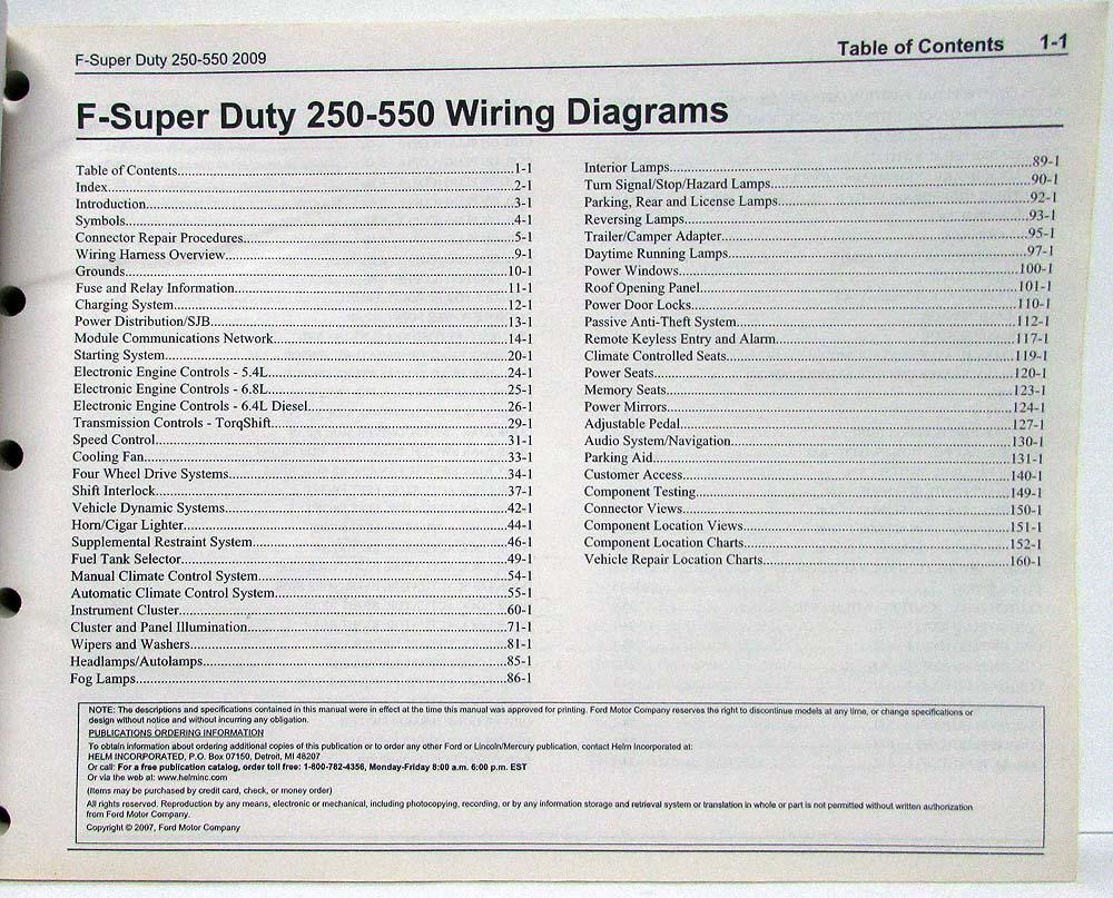 hight resolution of 2009 ford f 250 350 450 550 super duty pickup electrical wiring diagrams manual