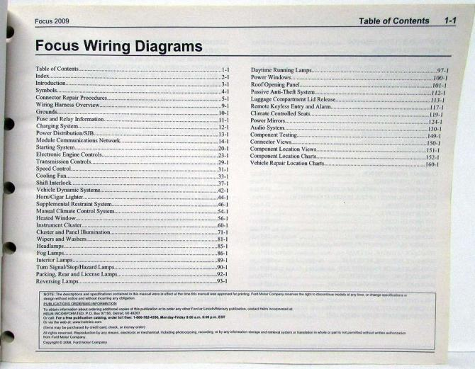2009 ford focus electrical wiring diagrams manual