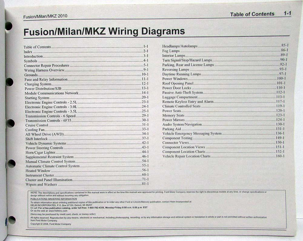 medium resolution of 2010 ford fusion lincoln mkz mercury milan electrical wiring diagrams manual