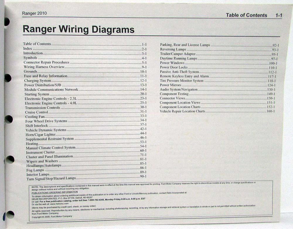 2010 Ford Ranger Pickup Truck Electrical Wiring Diagrams