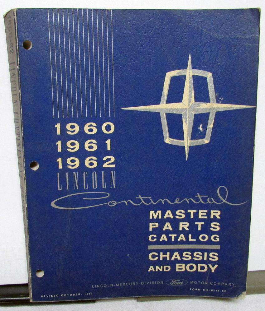 medium resolution of 1960 1962 lincoln dealer master chassis body parts catalog book continental