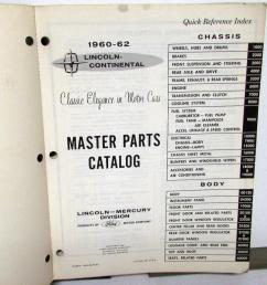 1960 1962 lincoln dealer master chassis body parts catalog book continental [ 951 x 1000 Pixel ]