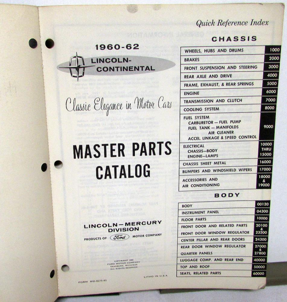 hight resolution of 1960 1962 lincoln dealer master chassis body parts catalog book continental