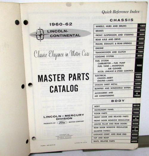 small resolution of 1960 1962 lincoln dealer master chassis body parts catalog book continental