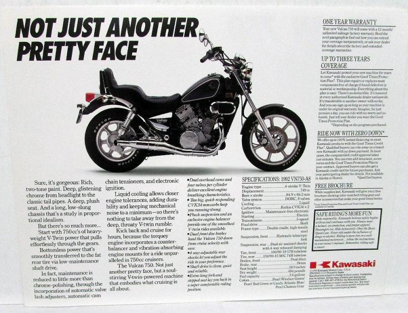 1992 Kawasaki Vulcan 750 Motorcycle
