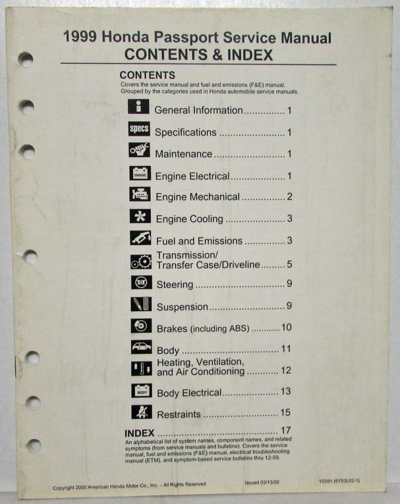 medium resolution of 1999 honda passport service shop manual fuel emissions contents index