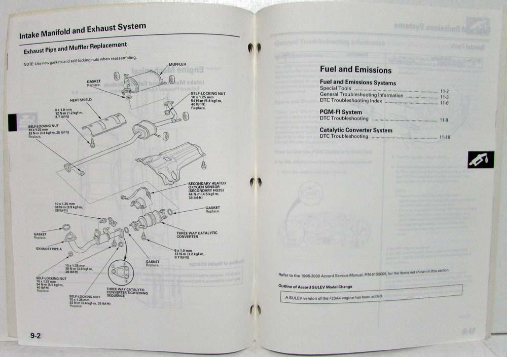 2000 Honda Accord SULEV Service Shop Repair Manual Supplement