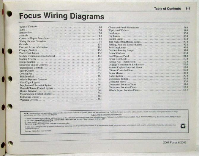 2007 ford focus electrical wiring diagrams manual