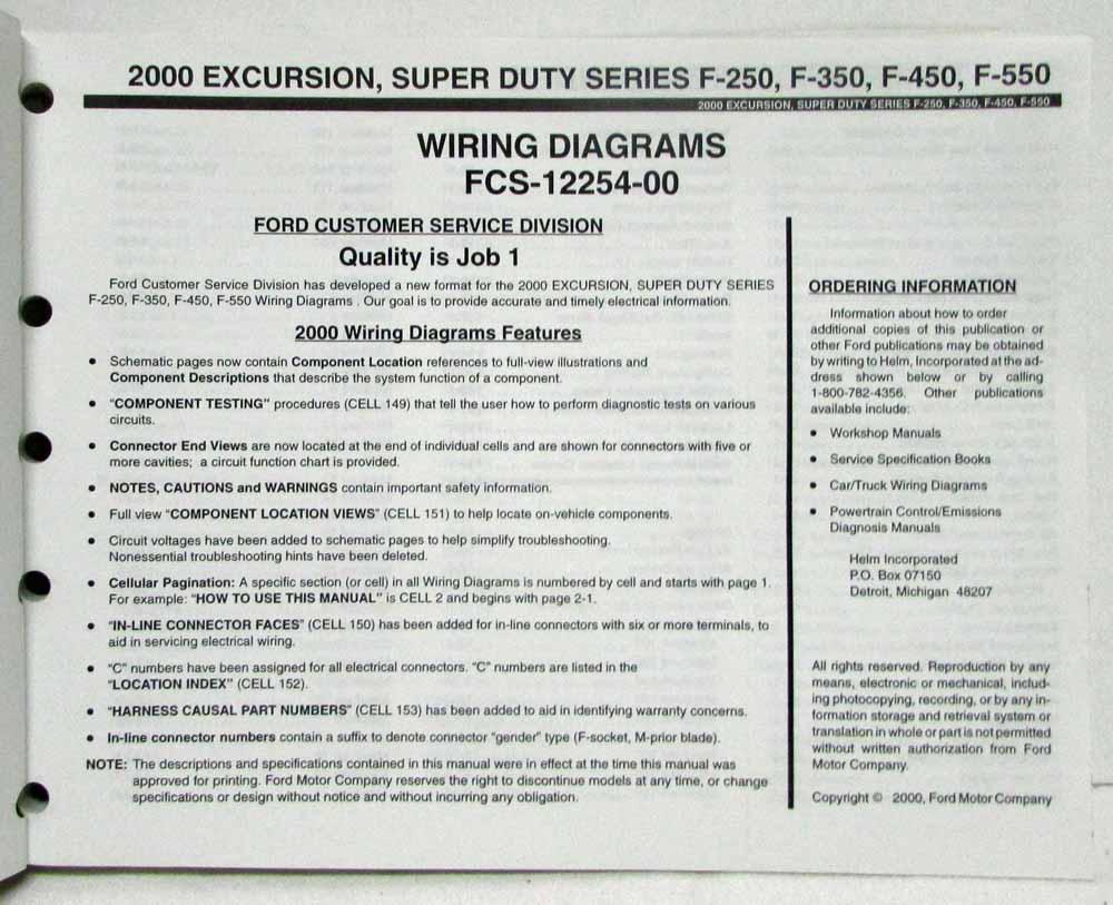medium resolution of 2000 ford excursion f 250 350 450 550 superduty electrical wiring diagram manual