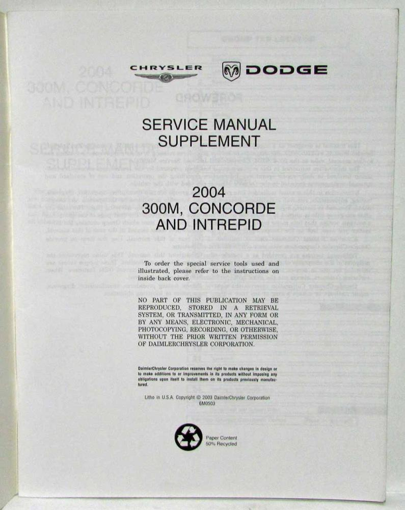 medium resolution of 2004 chrysler 300m concorde and dodge intrepid service shop repair manual supp