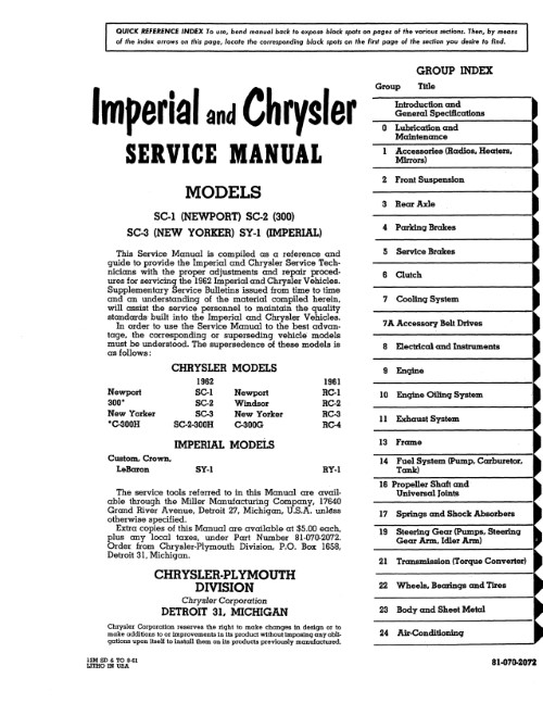 1962 Chrysler Service Manual Imperial Newport New Yorker