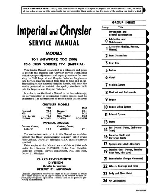 1963 Chrysler Service Manual Imperial New Yorker 300 Newport