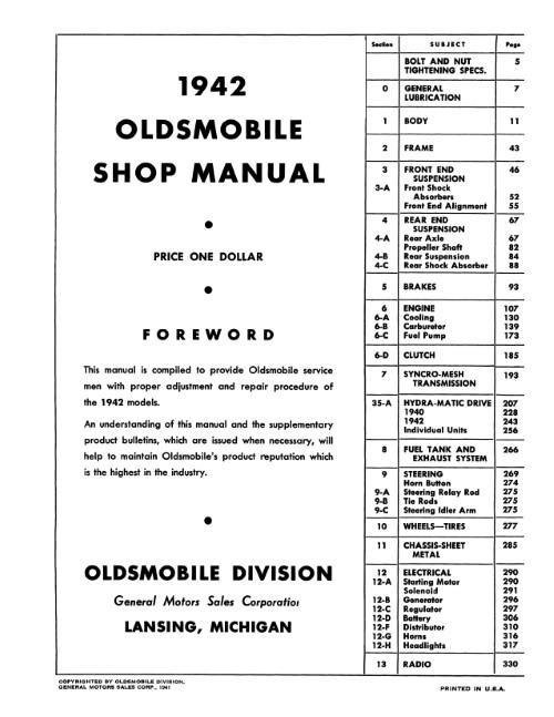 1942 1946 1947 1948 Oldsmobile Six & Eight Cylinder Shop