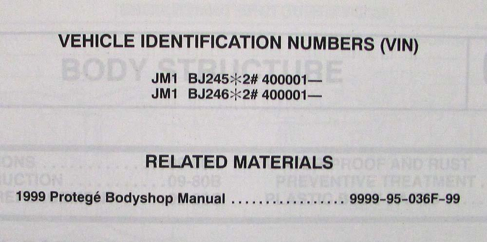 2002 Mazda Protege 5 Bodyshop Manual Supplement