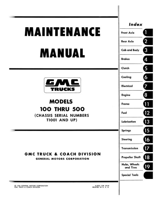 1957 1958 1959 GMC Truck Maintenance Service Manual 100