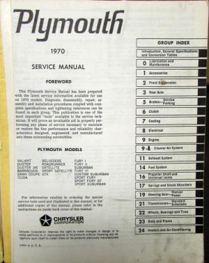 Original 1970 Plymouth Hemi 440 6BBL Road Runner GTX Cuda Duster Service Manual