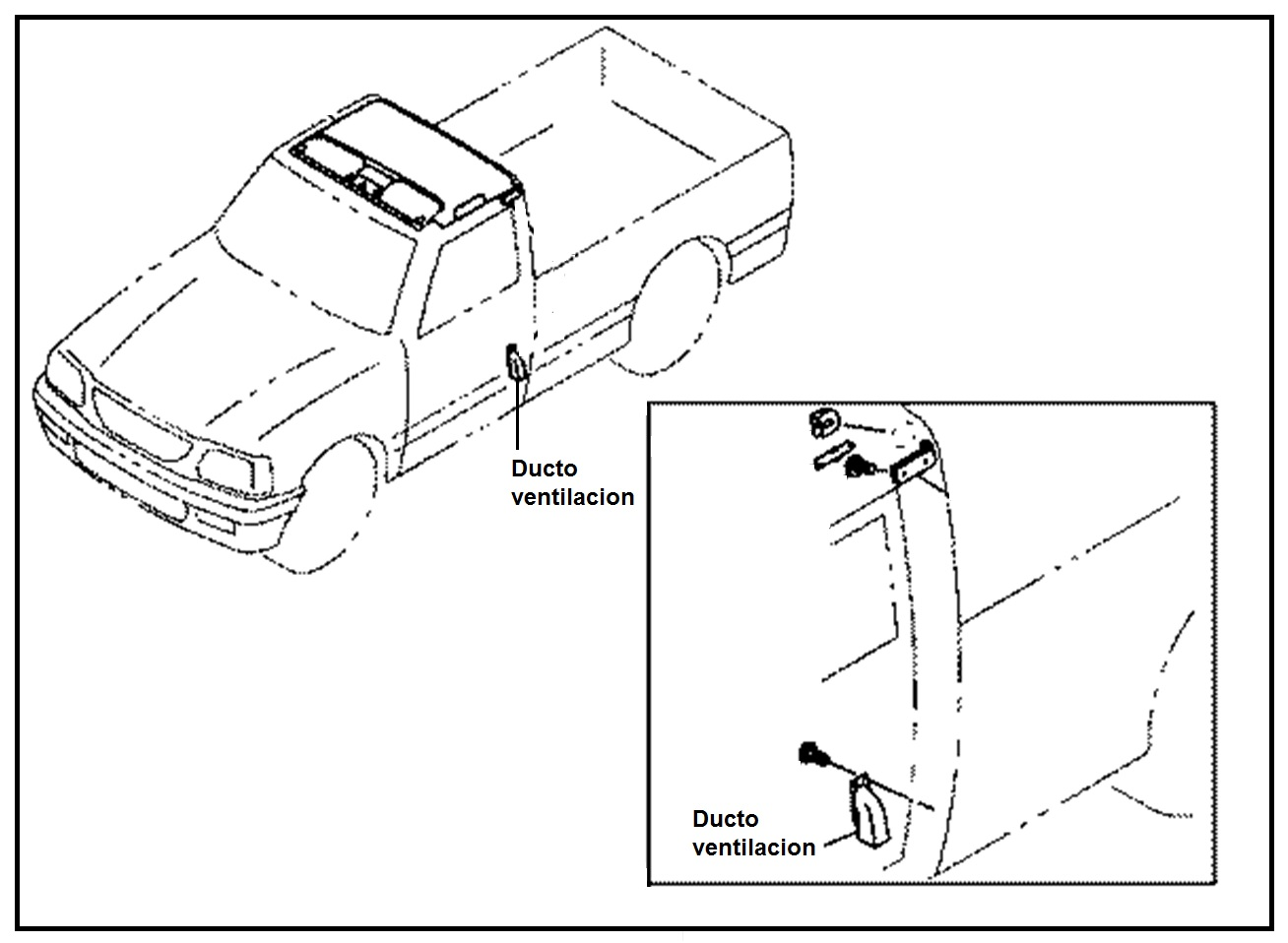 Ducto Ventilacion Paral Trasero Cabina Chevrolet Luv