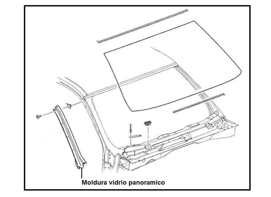 Moldura o empaque derecho vidrio panoramico delantero
