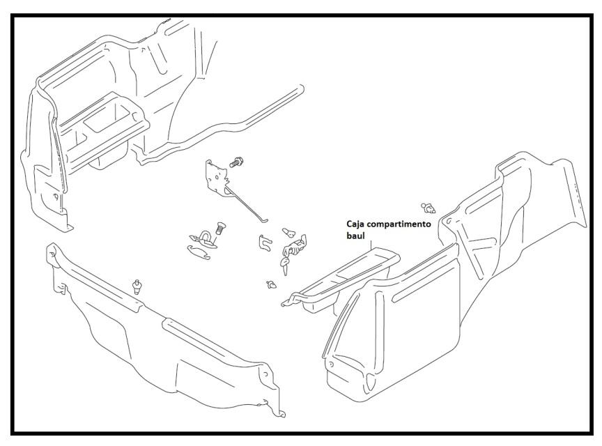 Caja derecha compartimento baul CHEVROLET SWIFT 1300, 1600