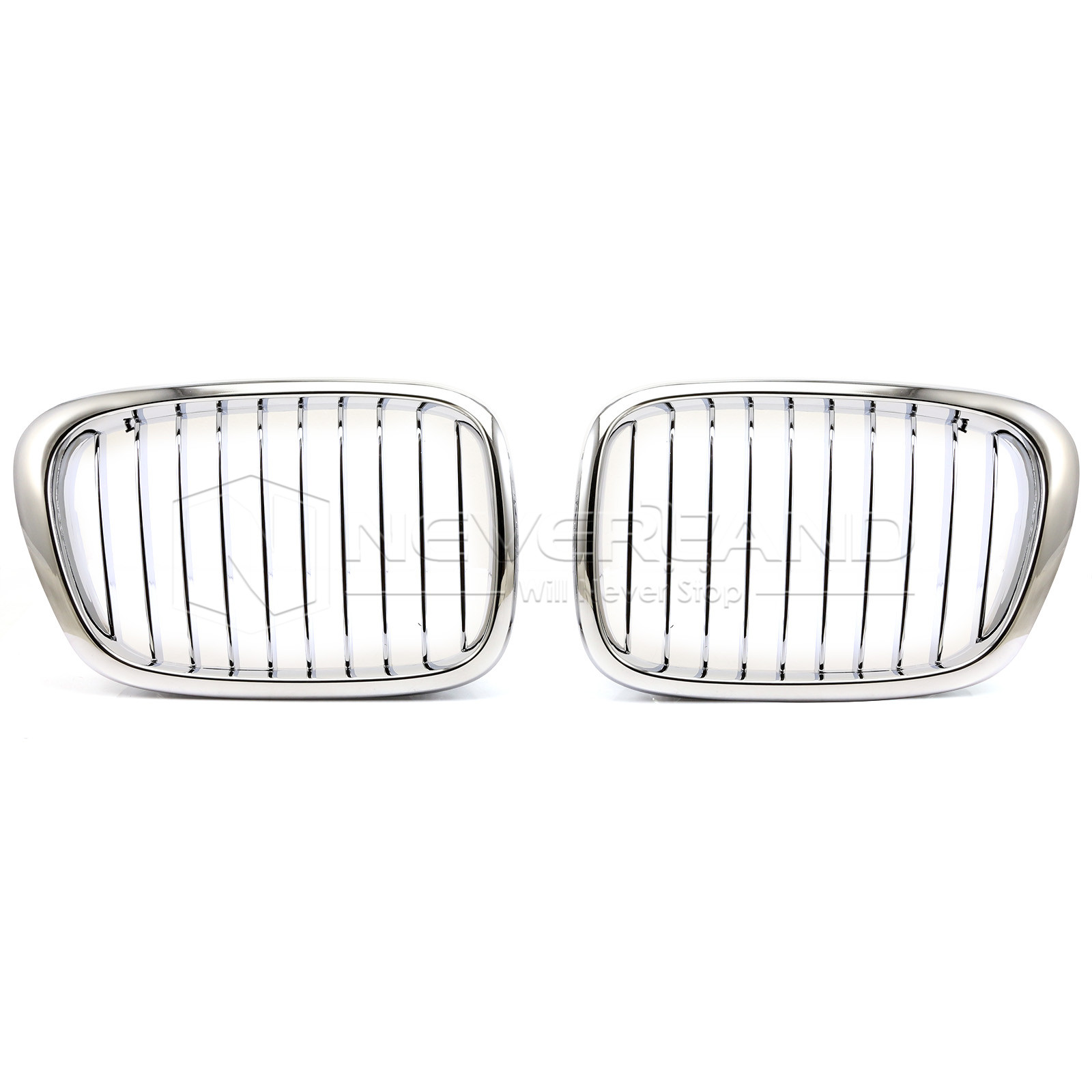 2pcs Car Front Bumper Kidney Grille 10 Bar Silver For BMW