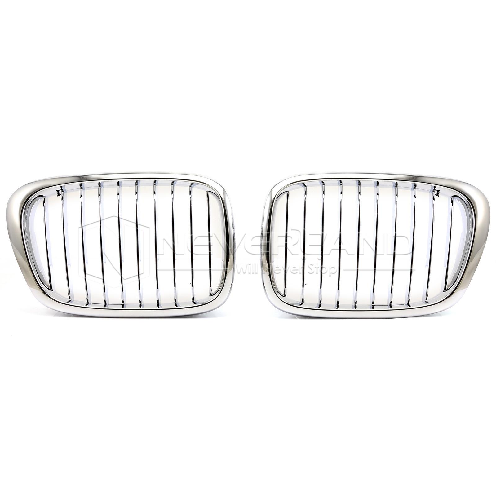 2pcs Car Front Bumper Kidney Grille 10 Bar Silver For Bmw