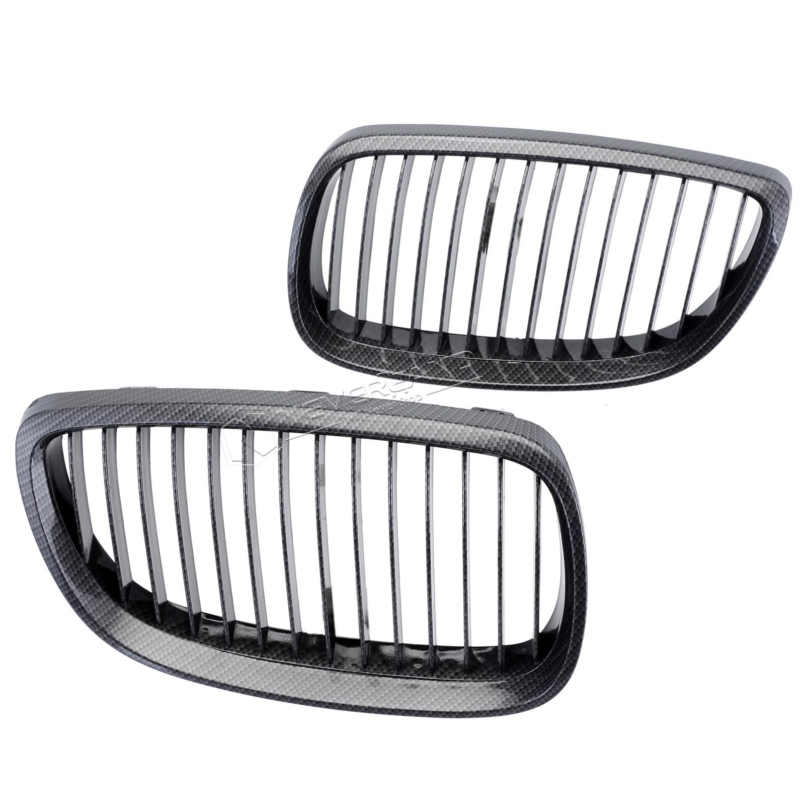 2pcs Carbon Fiber Black Car Grille Grid Front Bumper For