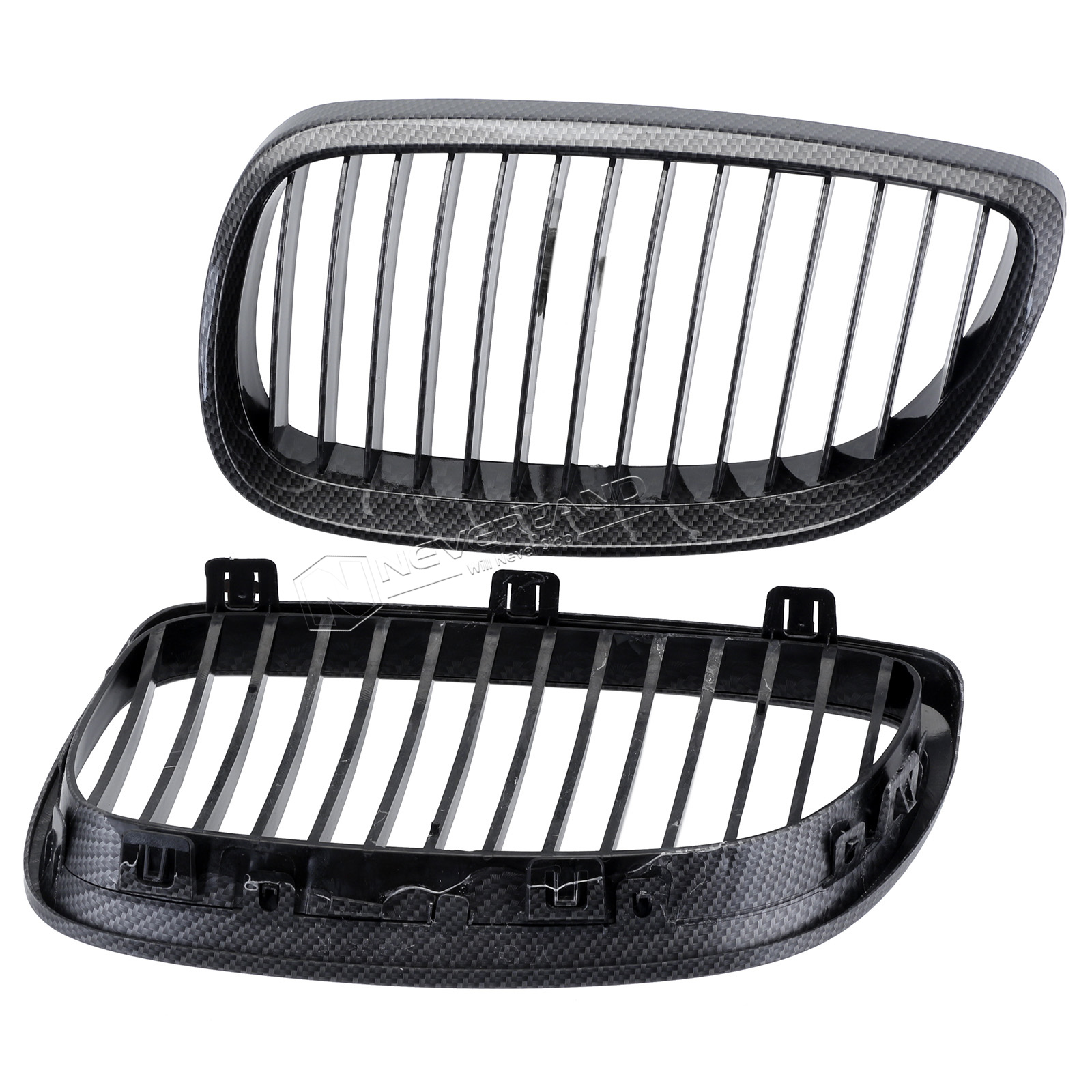 2pcs Carbon Fiber Black Car Grille Grid Front Bumper For