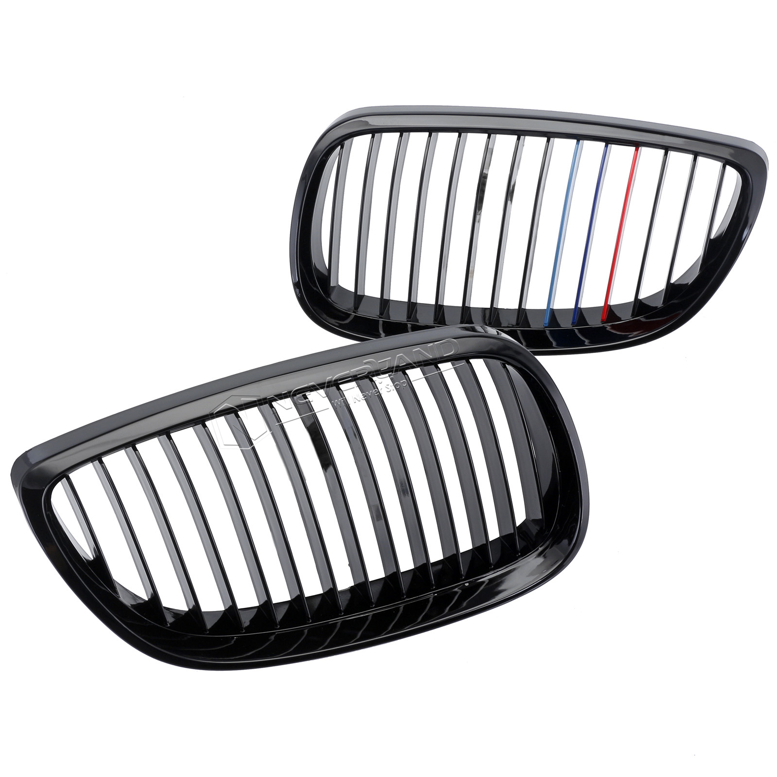 Pair Front Grille Gloss Black For Bmw E92 E93 2d Coupe Convertible M3