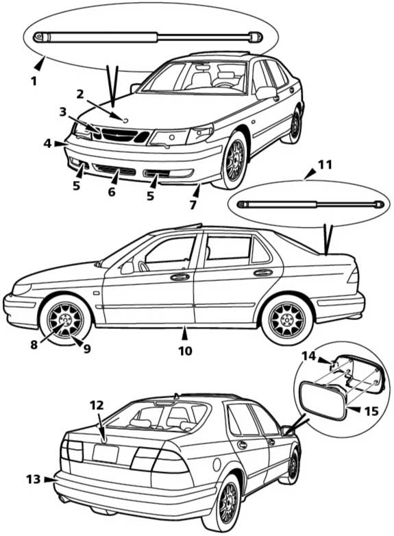 2000 SAAB 9-5 SAAB 9-5 Exterior Mechanical Diagram