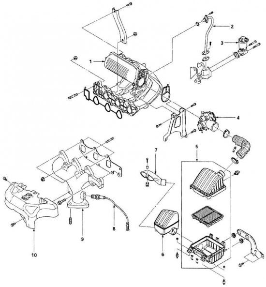 Воздушный фильтр и впускной и выпускной коллекторы: