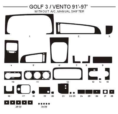 Dekor interiéru Volkswagen Golf 3 1991-1997 bez