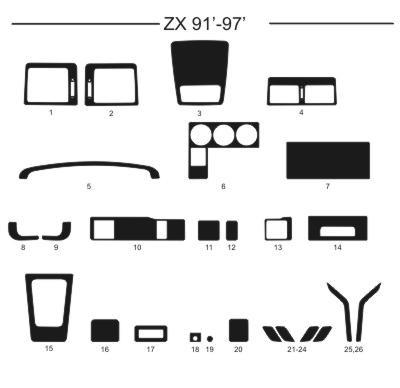 Dekor interiéru Citroen ZX, 1991-1997, AL hliník