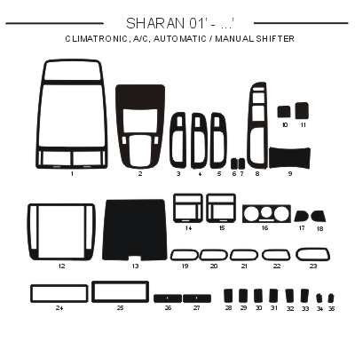 Dekor interiéru Volkswagen Sharan 2001-2008 climatronic