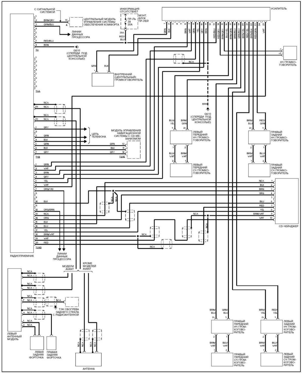 Ауди А4, С4. Аудиосистема Bose. Audi A4 / S4