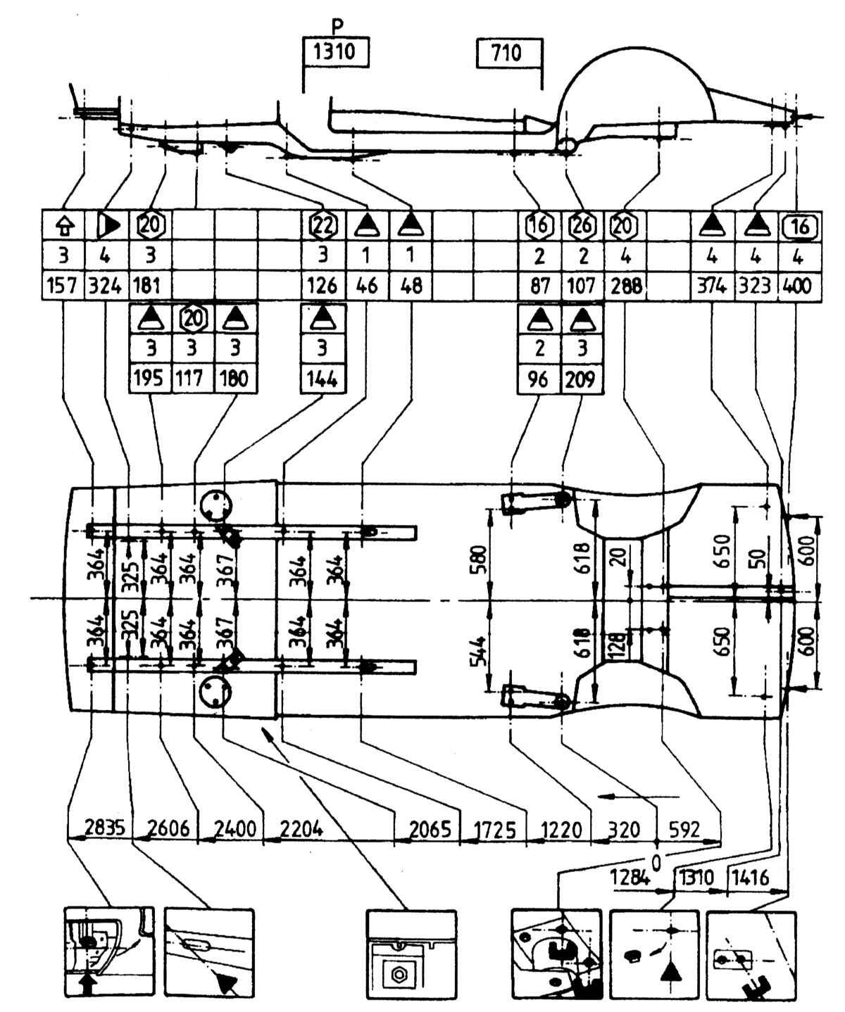 БМВ Е28, Е34. Контрольные кузовные размеры. BMW 5-ая серия