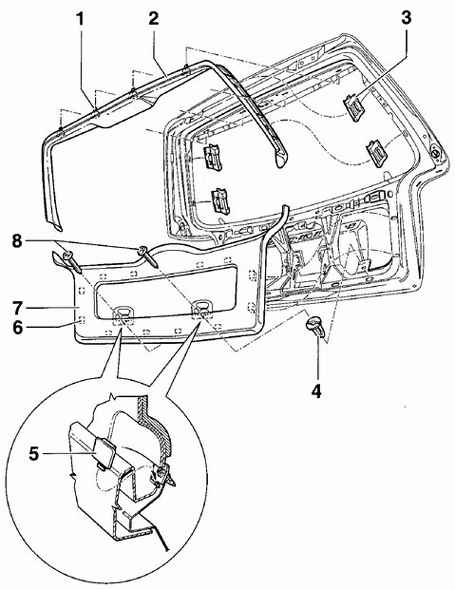 Фольксваген Пассат Б5. Обивка двери багажника. Volkswagen