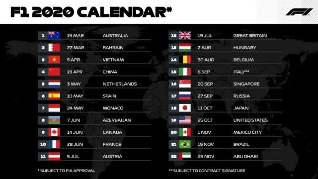 Calendario Frecce Tricolore 2020.Formula 1 Ecco Il Calendario 2020 Monza In Bilico