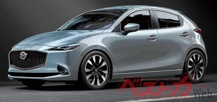 Nuova Mazda 2 2022, i Rendering della mini Mazda 3