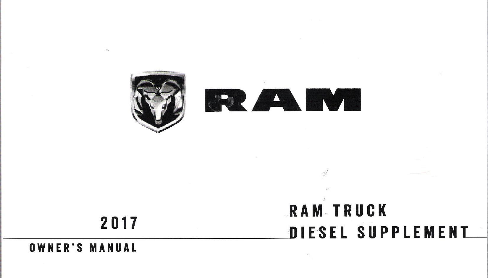 2017 Dodge Ram Truck 1500, 2500, 3500 Owner's Manual