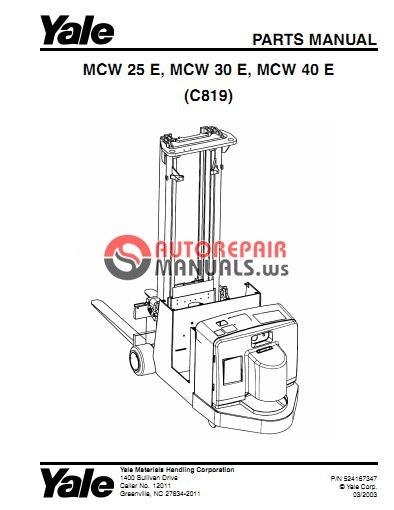 Yale Electric For Model MCW-E-25-30-40 (C819) Parts Manual