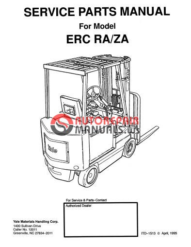 Yale Electric For Model ERC RA-ZA Service Parts Manual