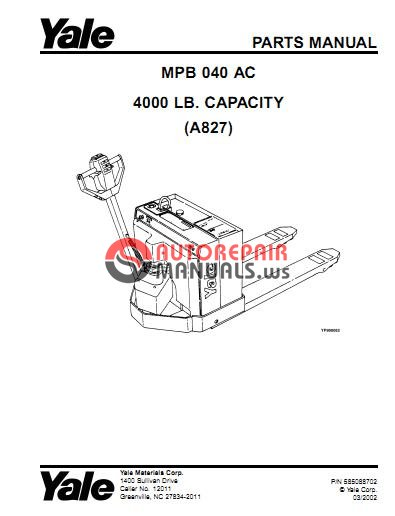 Yale Electric For Model MPB 040 AC (A827) Parts Manual