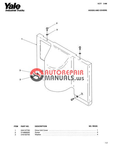 Yale Electric For Model MPW 060-080CN (A838) Parts Manual