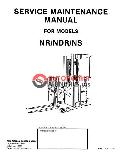 Yale Electric For NR-NDR-NS Service Maintenance Manual