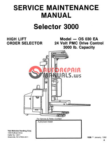 Yale Electric For OS 030 EA Service Maintenance Manual