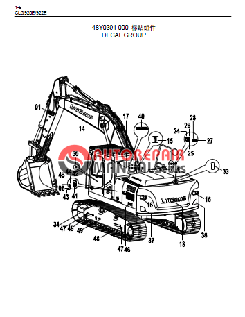 Liugong CLG920E/922E HYDRAULIC EXCAVATOR Parts Manual