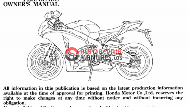 [Free download] 2006 Honda CBR 1000RR Oweners manuals