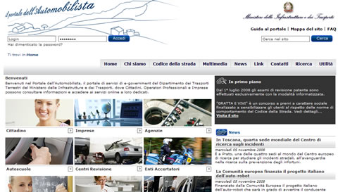 """portale_automobilista_1 """"Portale dell'Automobilista"""": pratiche auto, news e pagamenti on line"""